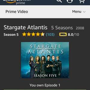Stargate Atlantis and sg-1 complete Seasons discounted £6.99 Amazon prime video