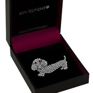 BACK in stock- Jon Richard crystal dachshund dog brooch £3.60 was £12 @ debenhams