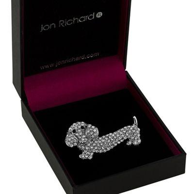 BACK in stock- Jon Richard crystal dachshund dog brooch £3.60 was £12 @ debenhams