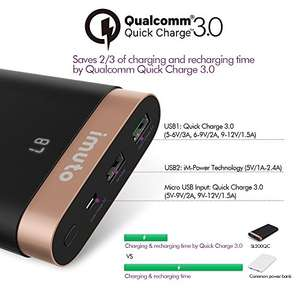Quick charge 3.0 20000mAh Imuto Power Bank for £23.01 sold by imuto fullfilled by amazon - lightning deal