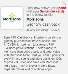 15% Cashback on all purchases at Morrisons via Santander Offers
