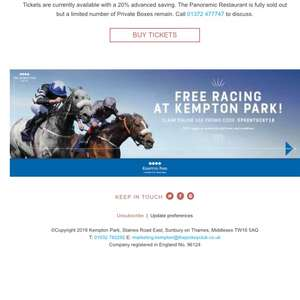 FREE HORSE RACING TICKETS @ AWT Kempton 1st March