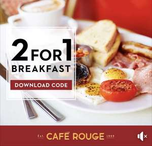 BOGOF on Award winning breakfasts inc veggie  @ Cafe Rouge