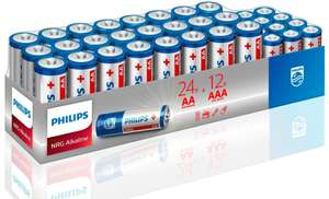36 pack Philips batteries 24 AA 12 AAA - £1 instore @ B&M