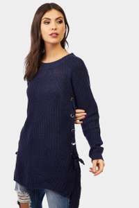 Navy Side Eyelet Detailing Jumper £4.20 with code LOVE30 @ lotd