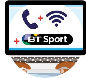 BT fibre b'band, line & BT Sport ' Ends 11.59pm Thu - Pay £530.73 upfront and get.£145 back from BT via £95 MasterCard and £50 cheque.