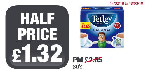 Tetley tea bags 80's ,half price now £1.32 @ premierstores