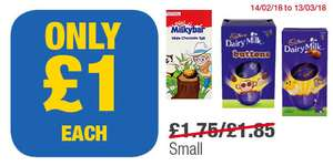 Small size easter eggs milkybar,dairy milk,dairy milk buttons £1 each @ premier stores