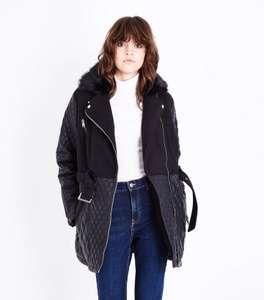 Black Contrast Panel Faux Fur Collar Biker Jacket (Size 6 or 8) £8 @ New Look (C&C or £3.99 delivery)