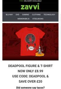 Deadpool q-fig and t-shirt for £8.99 (save over £20) @ Zavvi (plus £1.99 P&P)