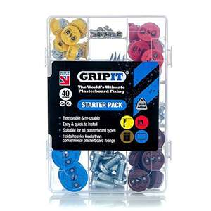 GripIt Starter Kit Plasterboard Fixings For Stud Walls - £16.60 (Prime) / £21.35 (non Prime) at Amazon