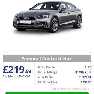 Audi A5 sportback £220 / month at 1st Choice Vehicle Leasing