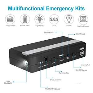 Car Jump Starter, EletecPro 15000mAh 600A 12-Volt Peak Portable Battery Booster Power Bank £49.99 Sold by ArtmarkDirect and Fulfilled by Amazon