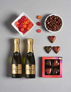 Food gift boxes reduced by 75% eg Secret admirer with prosecco & sweets was £20 now £5 more in post @ Marks and Spencer