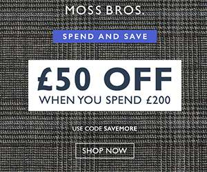£50 OFF WHEN YOU SPEND £200 @ Moss Bros