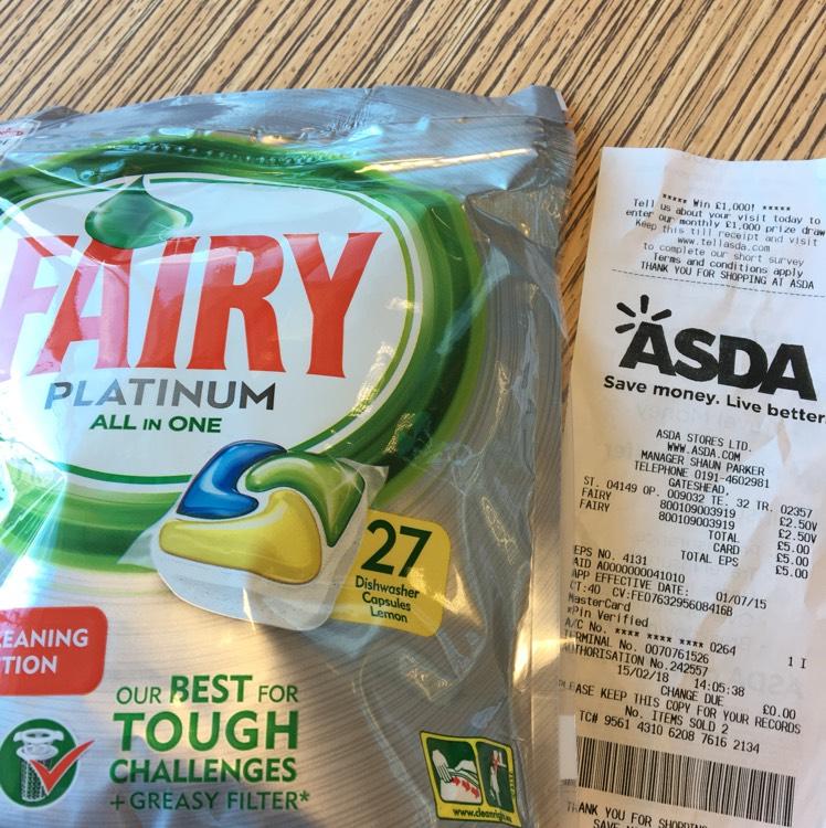 Fairy Platinum All in One 27 Dishwasher Tablets £2.50 @Asda Gateshead