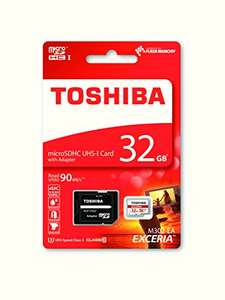 Toshiba Exceria 32GB Micro SD Memory Card (UHS Speed Class 3) with SD adapter £10.99 (Prime) £14.98 (Non Prime) @ Amazon