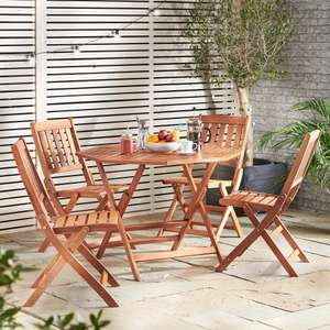 VonHaus 5 Piece Wooden Dining Set + Extended 2 Year Warranty £99 with Free Delivery @ Domu