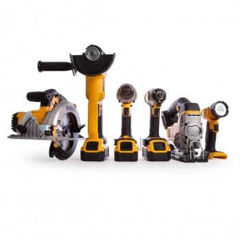 DeWalt 18v 6-Piece Kit (combi, impact driver, jigsaw, grinder, circular saw, torch), 3 x 5ah batteries, charger, 2 x cases - £726.53 @ Toolstop