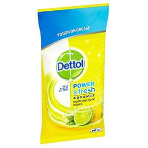 Dettol Power and Fresh 80 Wipes - Lemon and Lime, Large, Pack of 4 - £4 @ Amazon (Add on Item)