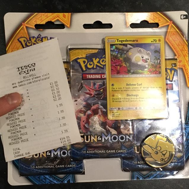 Pokemon Sun & Moon Blister Packs £1.55 instore @ Tesco Bellshill
