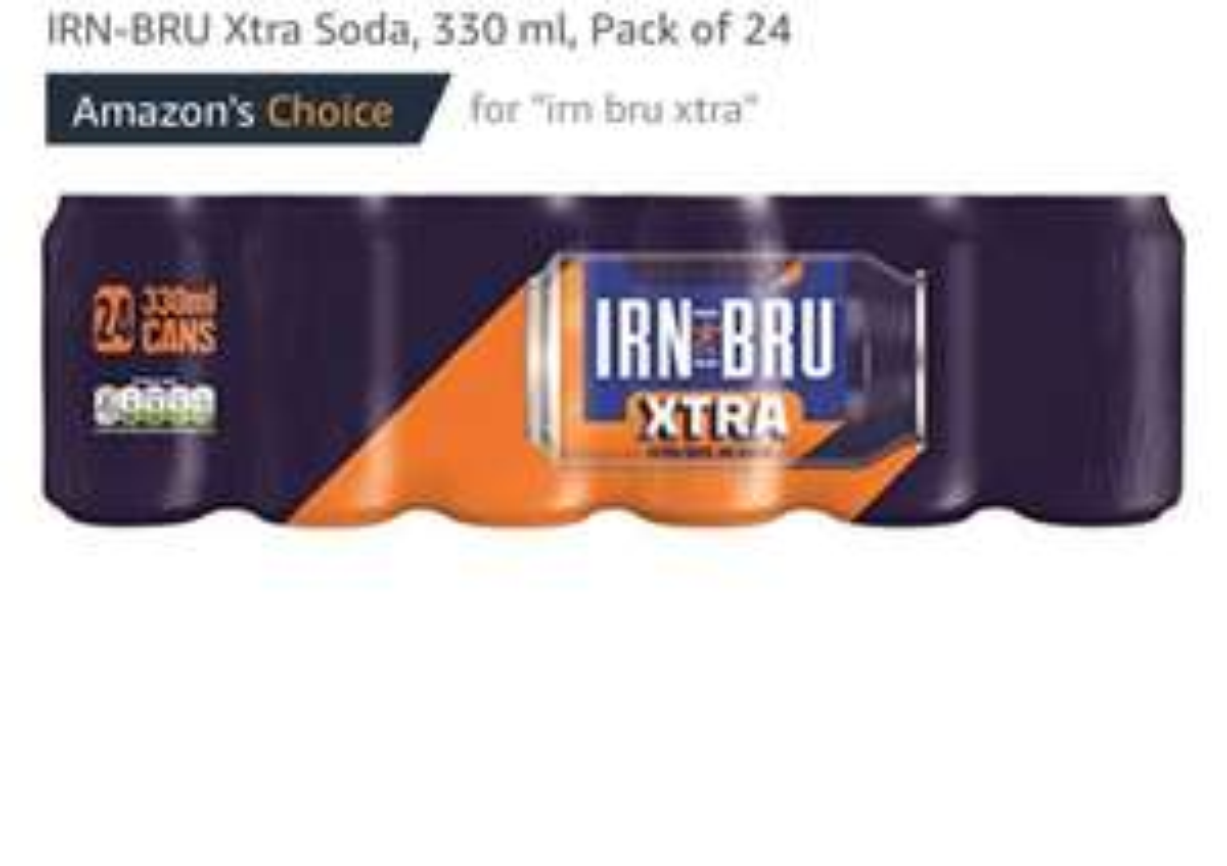 IRN-BRU Xtra Soda, 330 ml x 24 - £6 (Prime) / £10.75 (non Prime) at Amazon