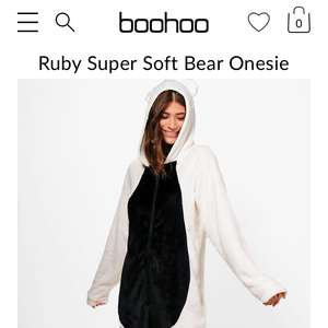 Ruby Super Soft Bear Onesie £6 at boohoo. £1 next day delivery
