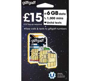 No contract SIM from giffgaff £1 + £15 Top Up at Argos