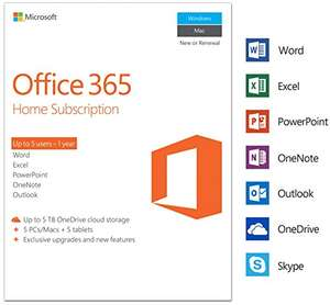Microsoft Office 365 Home for 5 Users inc 5 PC/Mac installs down to £52.99 (RRP £79.99) on Amazon UK