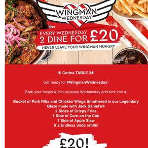 2 dine at TGI for £10pp on Wednesdays