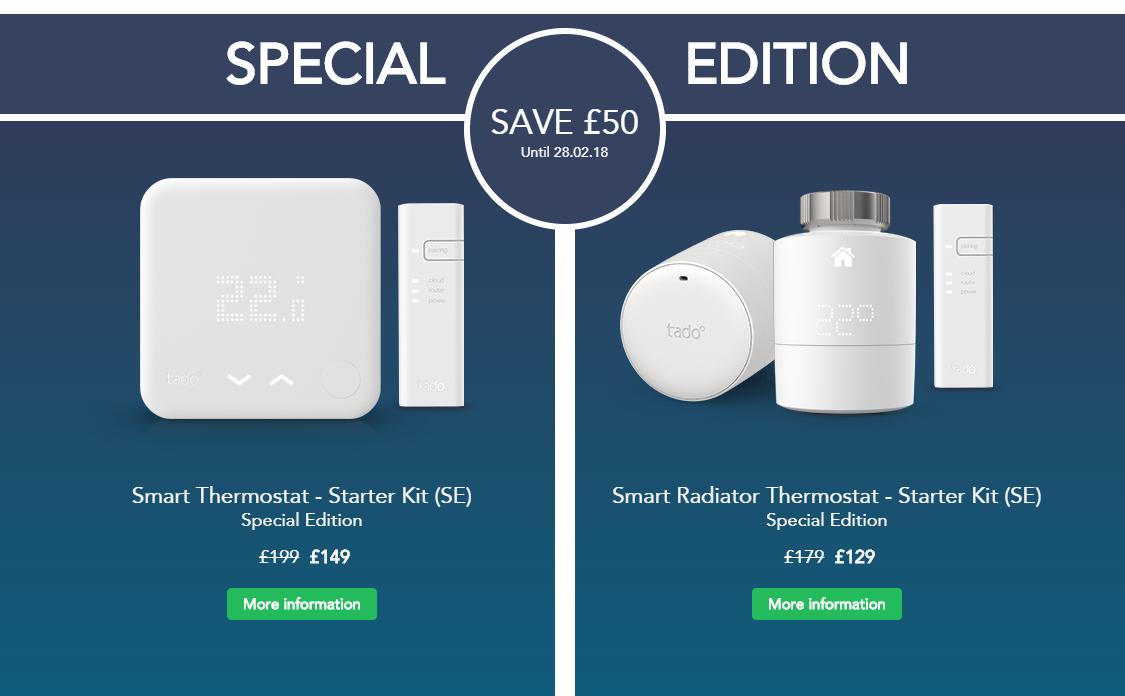 Tado £50 discount till 28.02.18 - Smart Thermostat - Starter Kit (SE) £149
