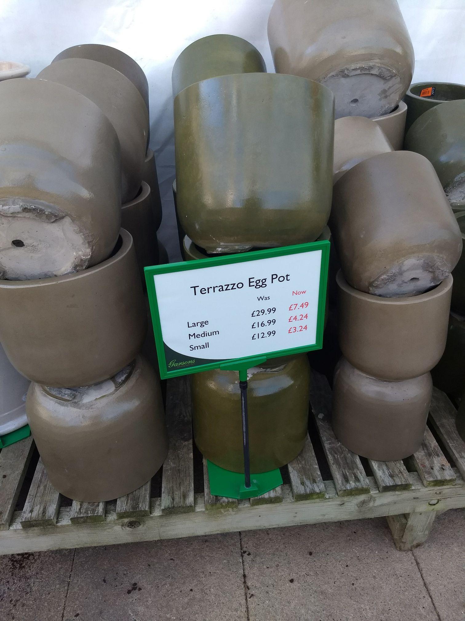 75% off Terrazzo egg pots small £3.24  medium £4.24 large £7.49 @ Garsons - Tichfield near Fareham Hampshire