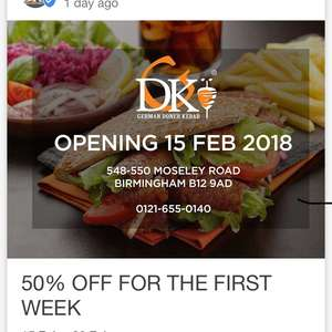German Doner Kebab 50% off Moseley Birmingham