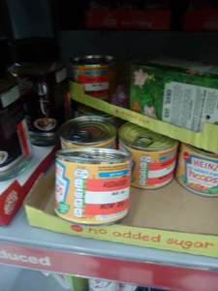 Heinz small size tin of * no added sugar 205g spaghetti hoops 25p @ Asda - Ellesmere Port
