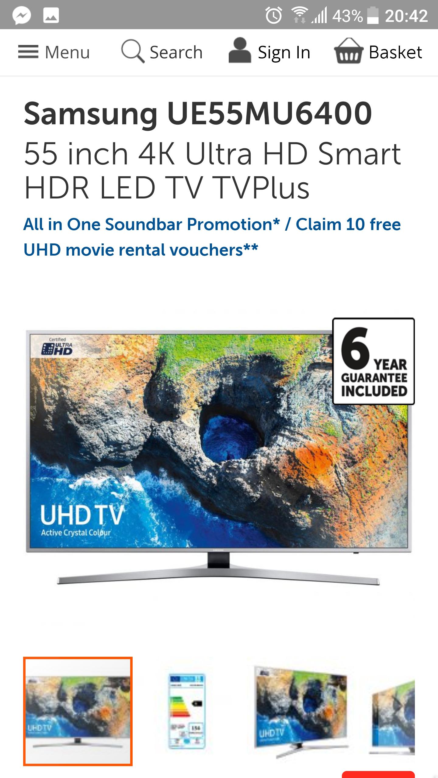 """Samsung  UE55MU6400U 55 """" 4k hdr (not 10 bit) £599 @ Richer Sounds"""