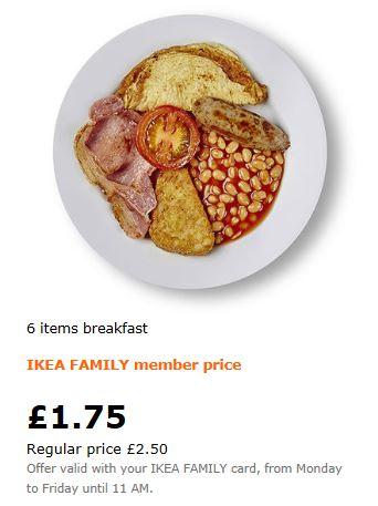 6 items breakfast £1.75 - Members Price @ IKEA