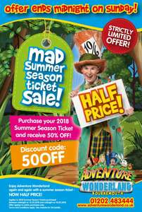 Half price summer season pass £26 with code @ Adventure Wonderland Bournemouth