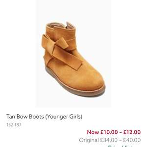 Next younger girls tan bow boots reduced to £10 from £40 in clearance