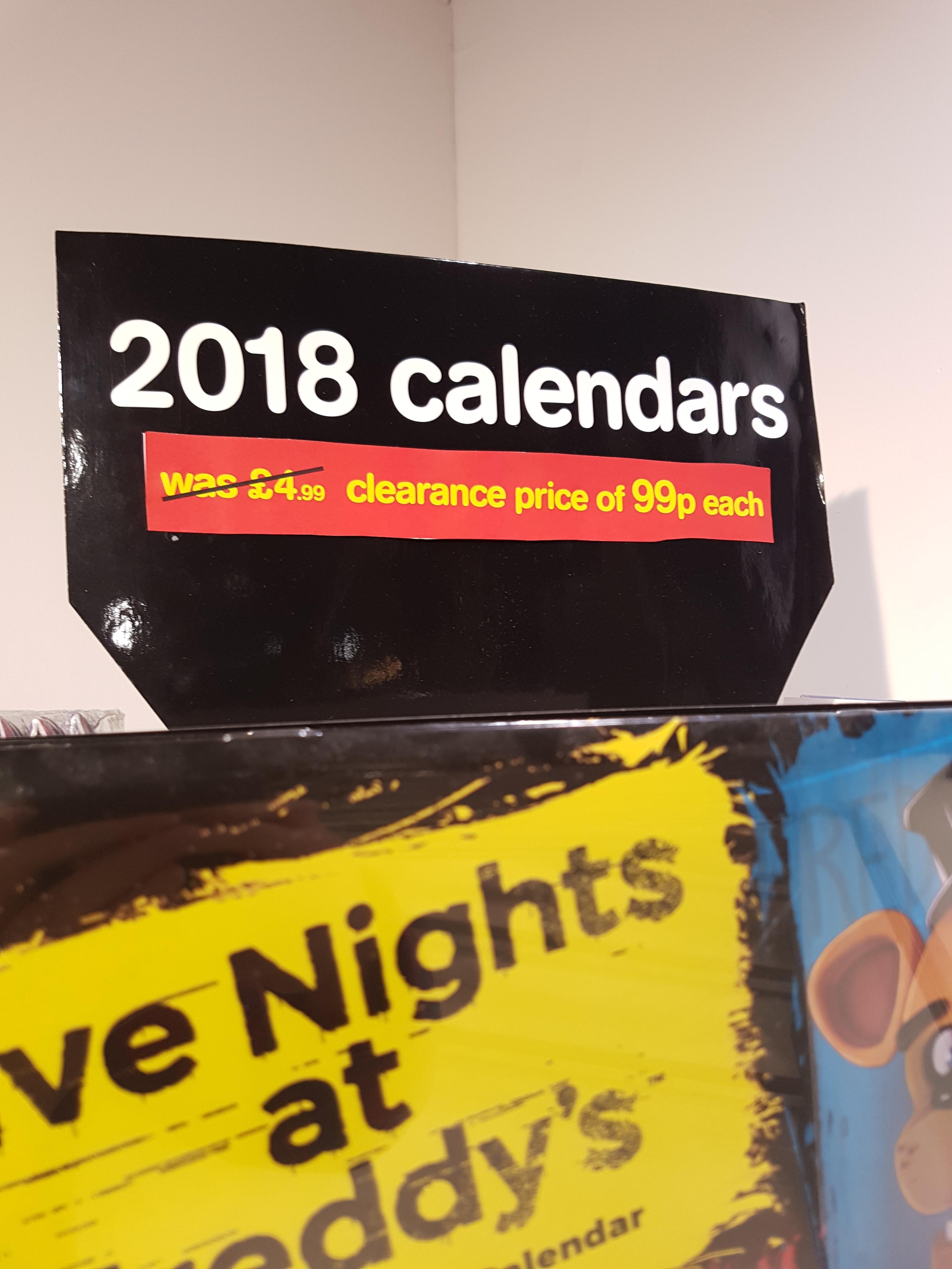 Various 2018 Calenders 99p in store HMV