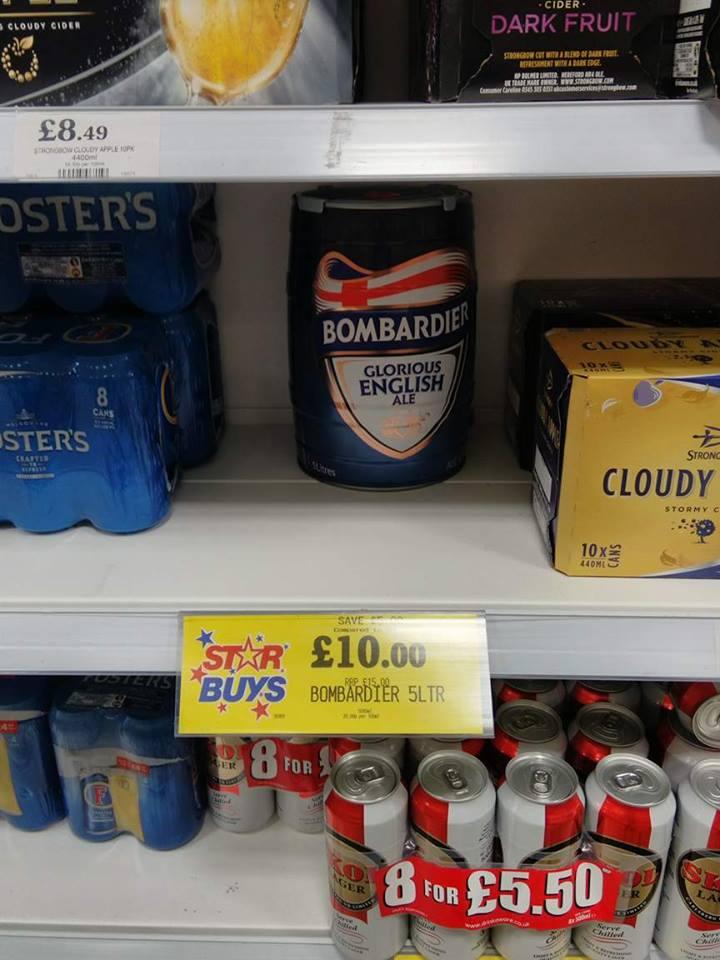 5 Litre keg of Bombardier ale. £10 @ Home Bargains (Maidstone, Kent)