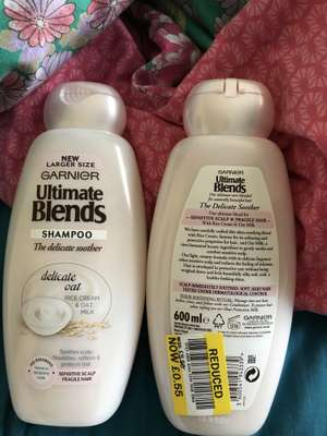 Garnier Ultimate Blends Sensitive Shampoo 600ml 55p in Tesco March