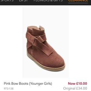 Next girls pink bow boots reduced to £10 free click and collect