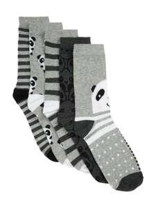 Ladies pack of 5 panda socks fits shoe size 3-8, now £3 @ peacocks