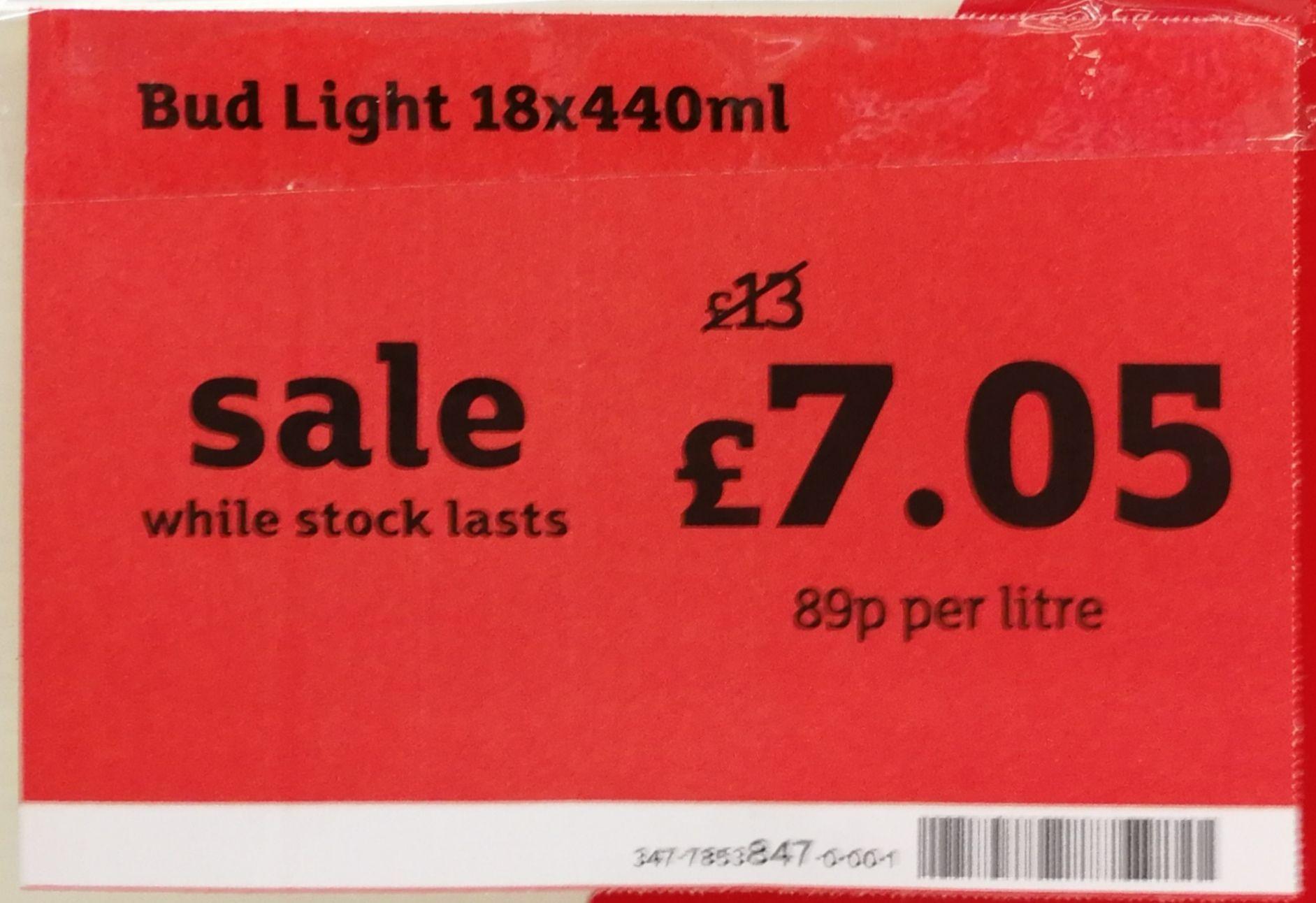 18 X 440ml Bud Light for £7.05 @ Sainsbury's Trowbridge