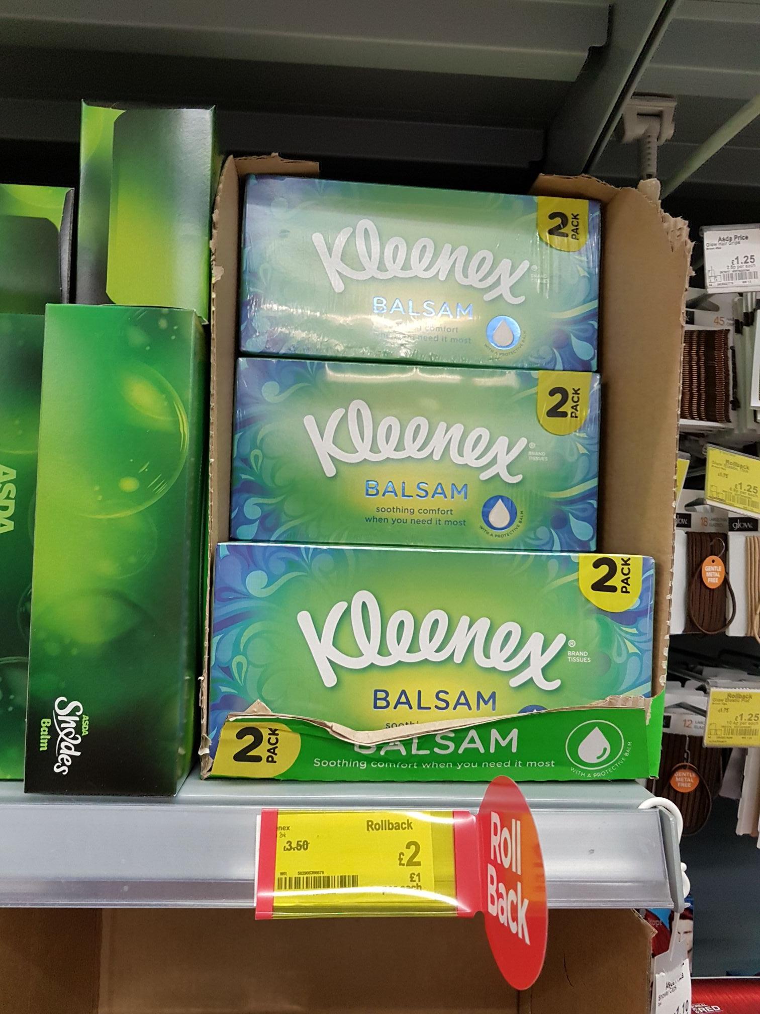 Kleenex Balsam 2 pack (72 Tissues in each box) £2 @ Asda