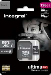 Integral 128GB Micro SD Card (SDXC) UHS-I U1 + Adapter £27.99 @ Amazon Dispatched from and sold by MyMemory