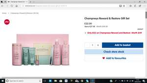 Champneys Reward & Restore Gift Set + Free click and collect £22 @ Boots