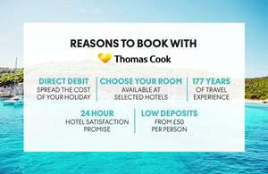 Save £100, £200 or £300 off the price of your Holiday at Thomas Cook