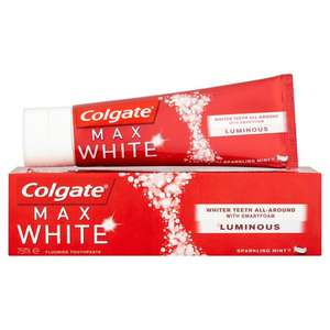 75ml colgate max white luminous £2.50 each  EVEN BETTER 3 for 2 @ ASDA  INSTORE ONLY