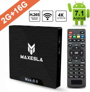 TV Box Android 7.1 Newest - Maxesla MAX-S II Smart TV Box with 2GB RAM + 16GB ROM, Upgrade Amlogic S905W Chipset, True 4K UHD Playing, Support H.265 Video Decoder, 2.4GHz Wifi Internet Media Player £30.99 Sold by Maxesla-UK and Fulfilled by Amazon